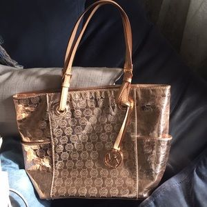 Michael Kors Rose Gold Monogram Tote Handbag